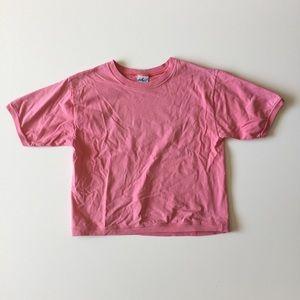 Vintage 80s 90s Pink Crop Top Tee T-shirt Chic S